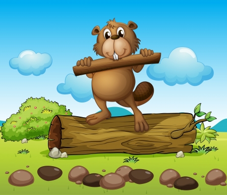 castoro: Illustrazione di un castoro con un pezzo di legno