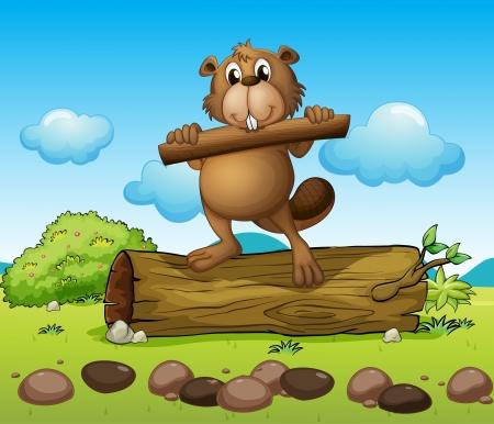 castor: Ilustración de un castor con un trozo de madera Vectores