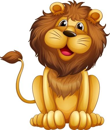 lion drawing: Illustrazione di un leone felice in posizione seduta su uno sfondo bianco