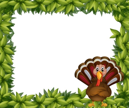 caruncle: Illustration of a leafy border with a turkey on a white background