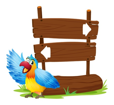 Illustration of a parrot standing beside a two-plank signboard on a white background  Vector