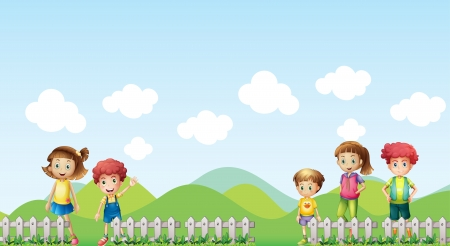 Illustration of five children in the farm Vector
