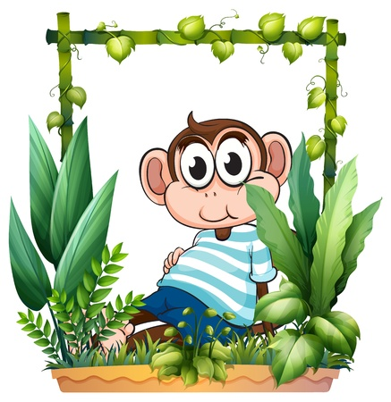 Illustration of a monkey with a blue shirt in the garden on a white background Vector