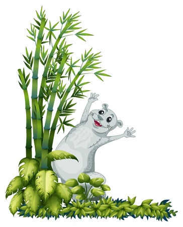 bamboo border: Illustration of a cheerful animal beside a bamboo tree on a white background