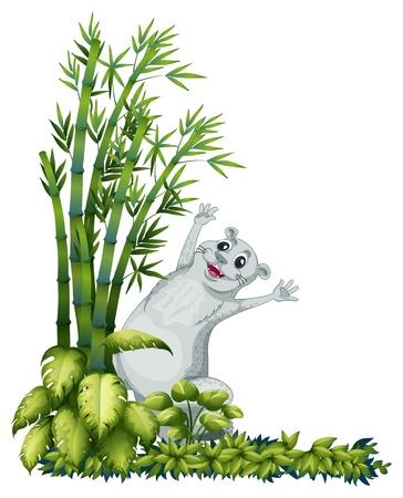 nutria caricatura: Ilustración de un animal alegre al lado de un árbol de bambú en un fondo blanco
