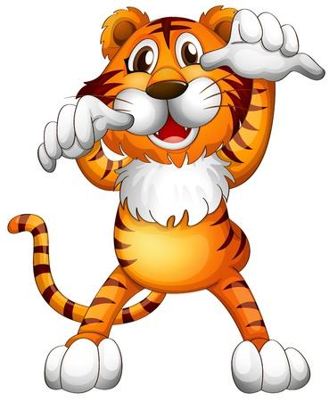 Иллюстрация страшно маленький тигр на белом фоне