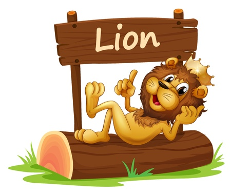 pic: Illustration of a king lion and the wooden signboard on a white background