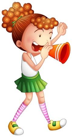 porrista: Ilustración de una chica joven con una máquina de ruido sobre un fondo blanco Vectores
