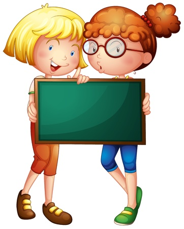 Illustration of two girls holding a green board on a white background Vector