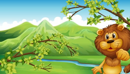 Illustration of a lion in a mountain scenery Stock Vector - 17890221