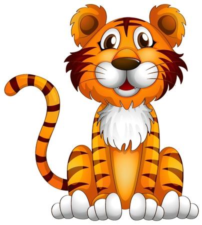 tigre caricatura: Ilustración de un tigre sentado sobre un fondo blanco