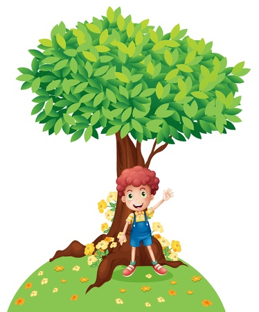 Illustration of a young boy standing under a big tree on a white background Stock Vector - 17889603