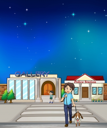 Illustration of a young boy walking with his dog  Vector