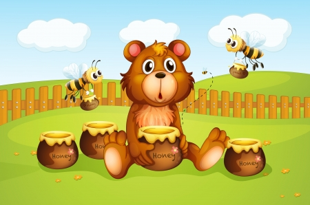 Illustration of a bear and bees inside a fence Stock Vector - 17889659