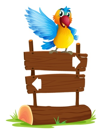 back and forth: Illustration of a colorful bird and the signboard on a white background Illustration