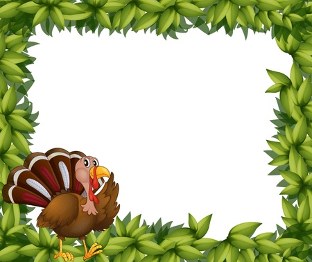 Illustration of a green frame border with a turkey on a white background Vector