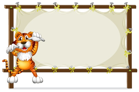 Illustration of a tiger attempting to jump on a white background Vector