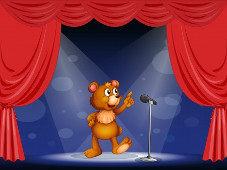 Illustration of a bear performing on the stage  Stock Vector - 17892451