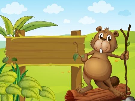 nutria caricatura: Ilustración de un castor al lado de un tablero de la muestra