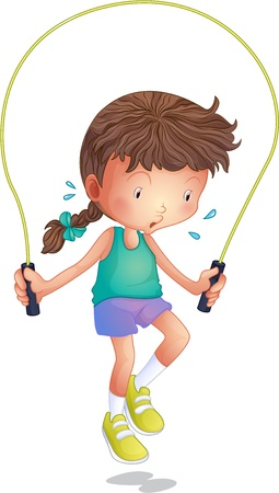 skipping: Illustration of a little girl playing skipping rope on a white background