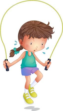 Ilustración de una niña que juega saltar la cuerda sobre un fondo blanco