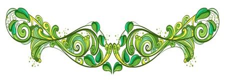 beautification: Illustration of a leafy design frame on a white background  Illustration