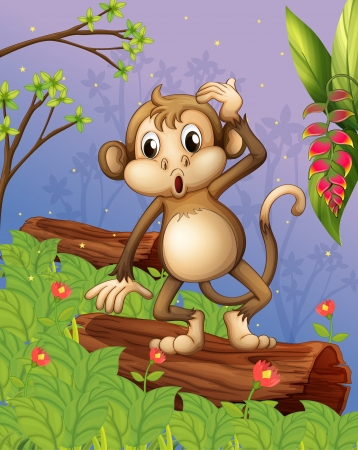 Illustration of a monkey playing in the garden  Vector