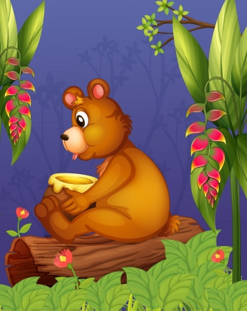 Illustration of a bear sitting in a wood Vector