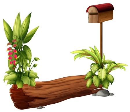 dode bladeren: Illustratie van een brievenbus en een droog stuk hout op een witte achtergrond