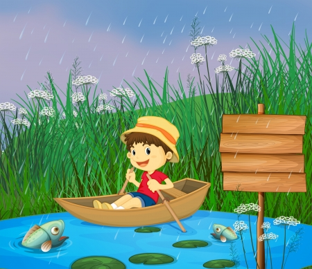 river bank: Illustration of a river and a smiling boy in a boat Illustration