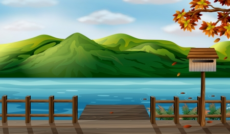lake beach: Illustration of a view of the sea and the high mountains