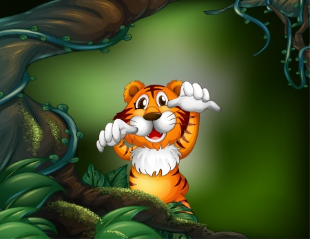 Illustration of a tiger in a scary forest  Stock Vector - 17892707