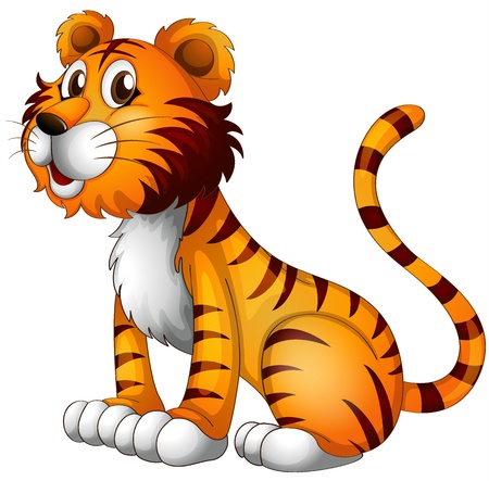 one animal: Illustration of a tiger on a white background