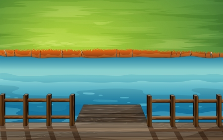 cartoon land: Illustration of a river with a wooden port