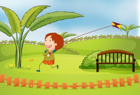 Illustration of a boy playing kite in a beautiful nature Vector