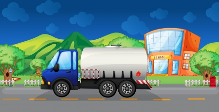 fuel truck: Illustration of an oil truck passing a school