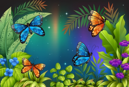 pict: Illustration of butterflies in the garden Illustration