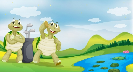 Illustration of two turtles near the river Vector