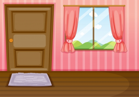 curtain window: Illustration of a window and a door in a room