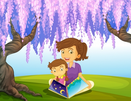 Illustration of a mother and a son sitting in a park Vector