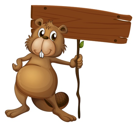 Illustration of a beaver holding a sign board on a white background