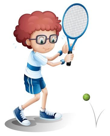 backhand: Ilustraci�n de un ni�o con un juego de tenis gafas sobre un fondo blanco