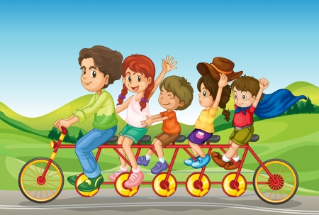 road bike: Illustration of kids riding a bicycle Illustration