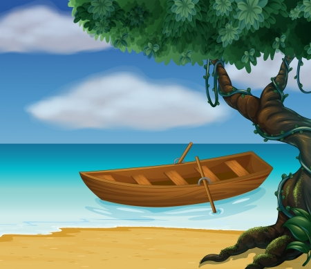 pict: Illustration of a wooden boat in the sea Illustration