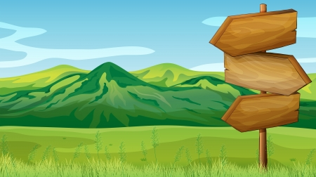 pasture: Illustration of empty wooden signboard across the mountains