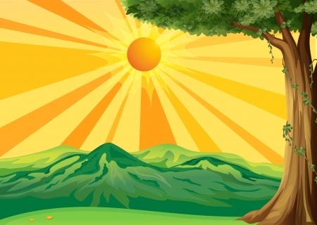 sol naciente: Ilustraci�n de una vista del amanecer
