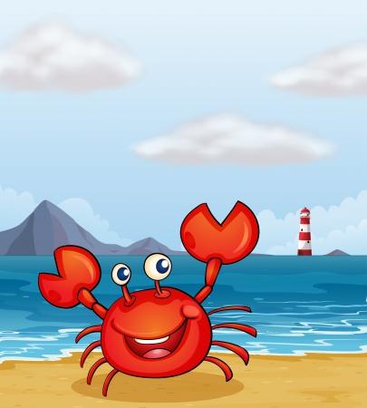 sea water: Illustration of a crab at the seashore