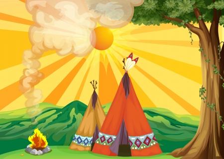indios americanos: Ilustración de tiendas de campaña en el bosque Vectores