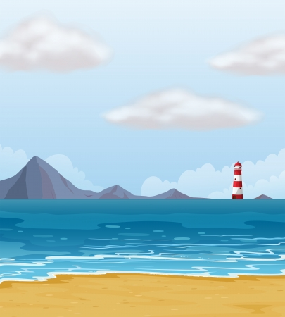 high sea: Illustration of a light house and a beach