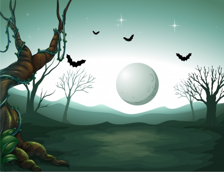 Illustration of a graveyard and a moon Vector